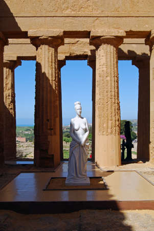 Statue in the Temple of Concordia, Valley of Temples, Agrigento, Sicily photo
