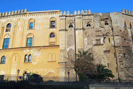 housed: The old Royal Palace in Palermo, Italy. Since 1946 the palace has housed the Sicilian Regional Assembly. Stock Photo