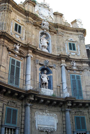 """One of the old palace of """"Quattro Canti"""" plaza officially known as Piazza Vigliena in Palermo, Italy. It was laid out on the orders of the Viceroy the Duke of Maqueda between 1608-1620 by Giulio Lasso. photo"""