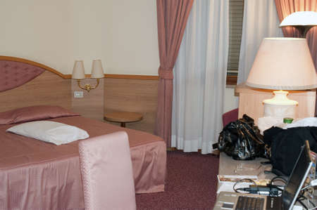 """Hotel """"Villa Fiorita"""" in Monastier, Treviso, Italy. Photo taken on March 2010 while some guest were lodged and in the foreground on the table just are visible their baggage and things."""