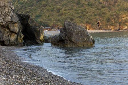 inlet bay: Beaches among rocks and mount, Marina di Camerota, Italy Stock Photo