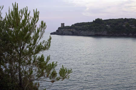 promontory: Promontory with old turret along Salerno seacoast, Italy Stock Photo