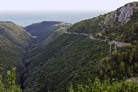 sloping: Mountainside gently sloping down the seacoast, Salerno, Italy