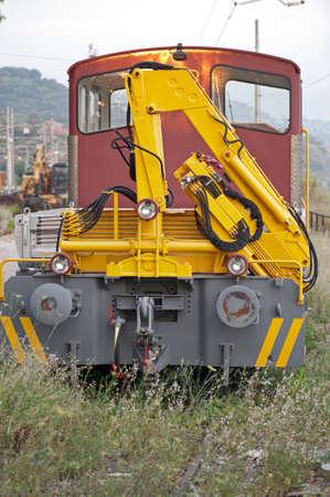 conveyor rail: Railroad car for locomotive maintenance on a blind track