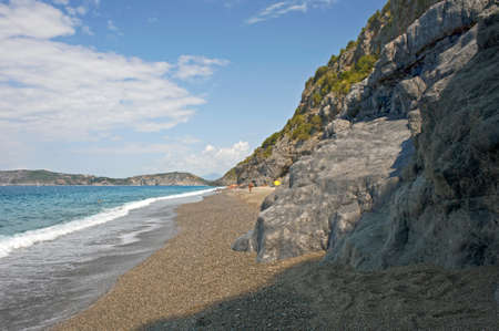 gravelly: Wide beach along rocky Cilento coast, Italy