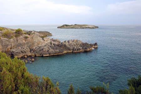 oxbow: Oxbow with rocky creek along Camerota coastline, Italy