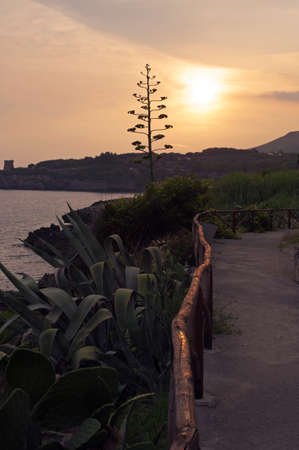 Sunset over the lonely path along Marina of Camerota coast, Italy Stock Photo - 8875752