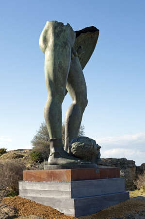 weatherworn: A bronze statue in the park of the Valley of Temples, Agrigento, Sicily