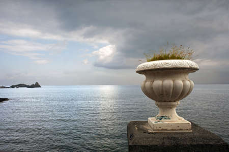 Seascape from the littoral of Aci Castello, Sicily Stock Photo - 9237045