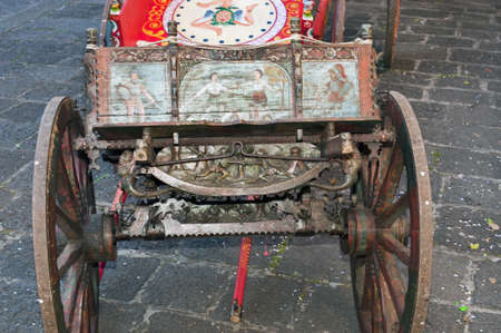 typical: Typical old Sicilian carts in the street
