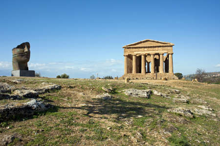 concordia: Hill with Temple of Concordia and statue, Valley of Temples, Sicily
