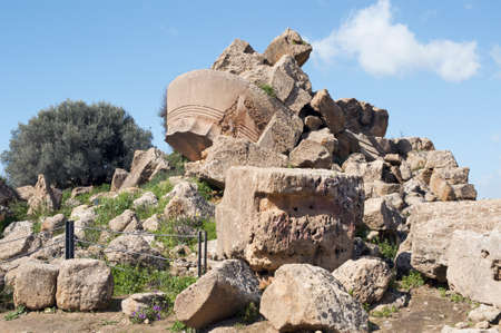 Remains of the Temple of Olympian Zeus in the Olympeion field, Sicily Stock Photo - 9407288