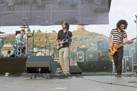 """Marina di Camerota, Salerno, Italy, May 27-28-29, 2011 : """"Meeting del mare"""", the annual three days long concert for new emergent groups and singers. Here, just a rock band on the stage."""