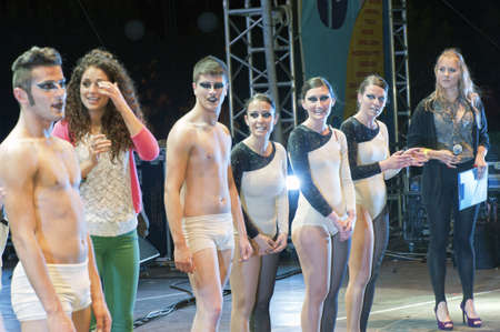 """Marina di Camerota, Salerno, Italy, May 27-28-29, 2011 : """"Meeting del mare"""", the annual three days long concert for new emergent groups and singers. Here, young dancers on the stage at the end of the show"""