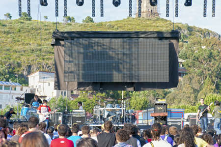 """Marina di Camerota, Salerno, Italy, May 27-28-29, 2011 : """"Meeting del mare"""", the annual three days long concert for new emergent groups and singers. Here, the stage with the public."""