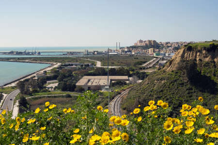 region sicilian: Landscape,  Agrigento seaport viewed by the hill of Kaos, Sicily, Italy