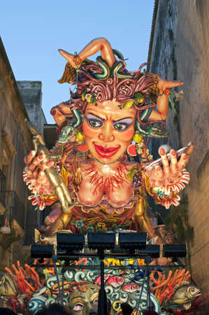 allegorical: An allegorical figure during the Carnival parade, Sciacca, Sicily,