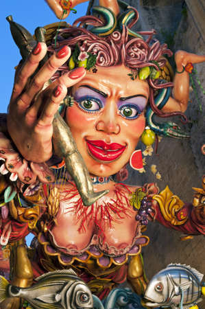 allegorical: Particular of an allegorical figure during the Carnival parade, Sciacca, Sicily,