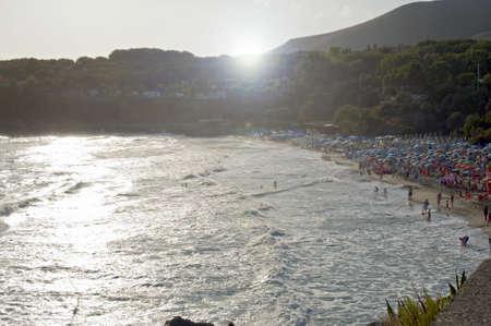 A pleasant beach against the light at sunset, Marina di Camerota, Italy Stock Photo - 10336387