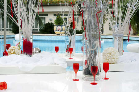 caterer: Outdoor party in the swimming pool