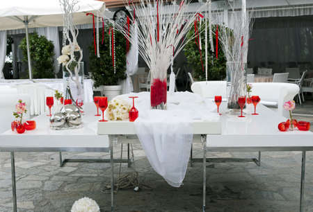 Tables setting for the wedding ceremony
