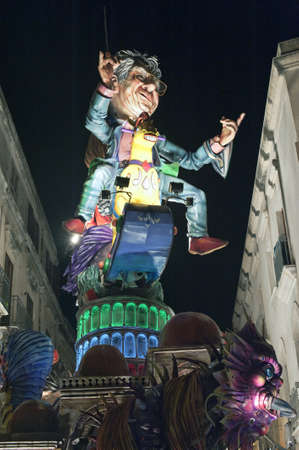 Puppet mounted on float for Carnival parade in Sciacca, Sicily