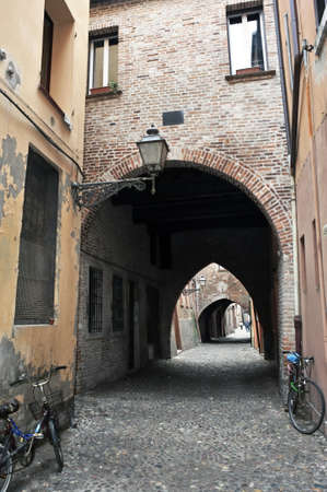 jewish home: A typical alley in Ferrara, Italy