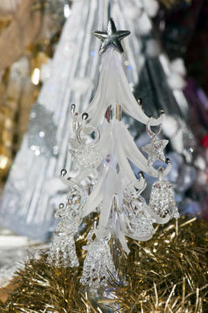gewgaw: A detail of A small glass christmas tree