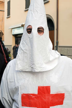A man dressing the kkk robe  Stock Photo