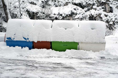 Detail of some garbage cans covered with snow Stock Photo - 17396073