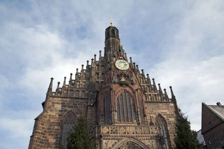 hauptmarkt: Church of our lady  Frauenkirche  in Nuremberg, Germany
