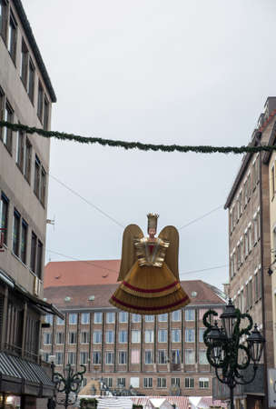 The typical angel  Rauschgoldengel  in the street at christkindlmarket, Nuremberg, Germany