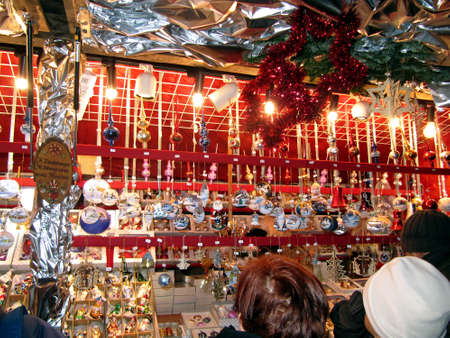 country store: A stand selling Christmas decorations Editorial