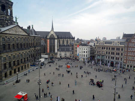 A view of Dam plaza with the Royal Palace and Nieuwe Kerk in Amsterdam, Netherlands  Stock Photo - 19545286