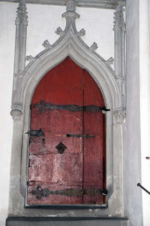 cubby: An old wooden door inside the Cathedral of Augsburg,  Bavaria, Germany