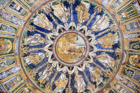 baptizing: Wonderful Mosaic in the dome of the Baptistry of Neon, Ravenna, Italy