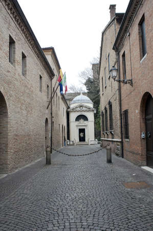 Alley with Dante Alighieri s tomb building, Ravenna, Italy