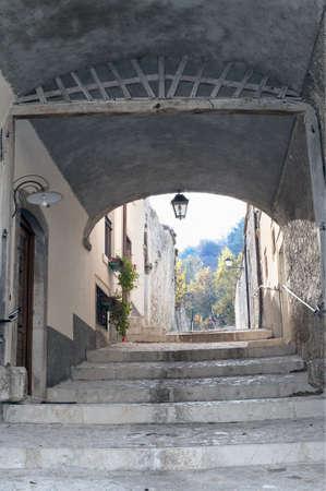 characteristic: A characteristic alley in Pescocostanzo, Abruzzi, Italy Stock Photo