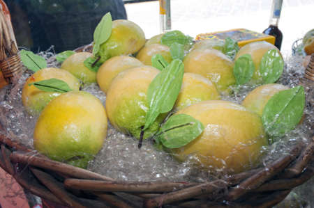 Pastries made of almond paste lemon shaped, Sicily, Italy photo