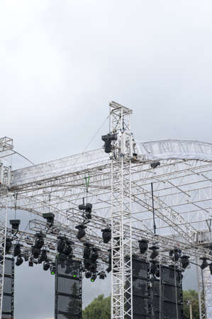Scaffold with lights above the stage  photo