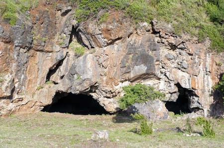 palinuro: Caverns in the rock along the coast, Marina di Camerota, Italy