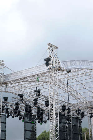 Scaffold with lights for the stage  photo