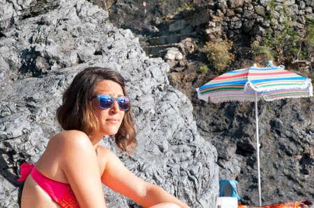 A girl at beach photo
