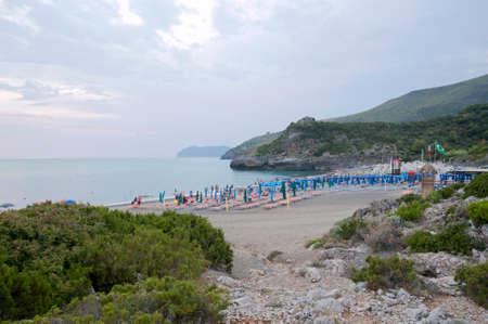 Een strandresort langs de kust van Marina di Camerota, Italië Stockfoto