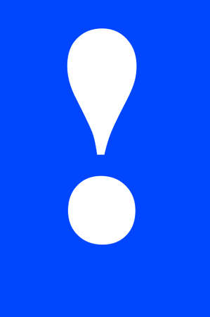 emphasis: Abstract: big exclamation mark isolated on blue background