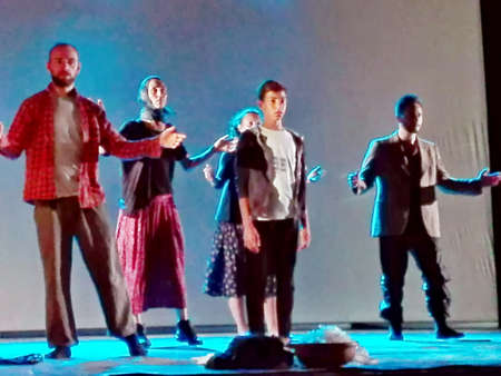onstage: Mediterranean, an impressive display of poetry, music and dance on the tragedy of migrants from Africa, onstage in Marina di Camerota, Italy,  July, 22