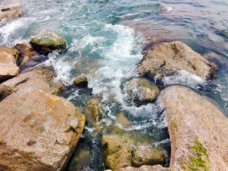 riverbed: Stones along the seashore
