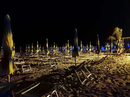 none: Beach resort at night