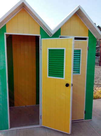 shower stall: Beach changing rooms