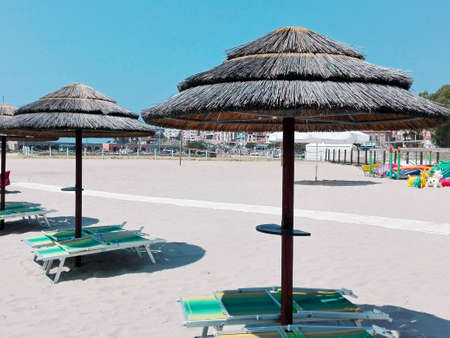sunshades: Straw sunshades Stock Photo